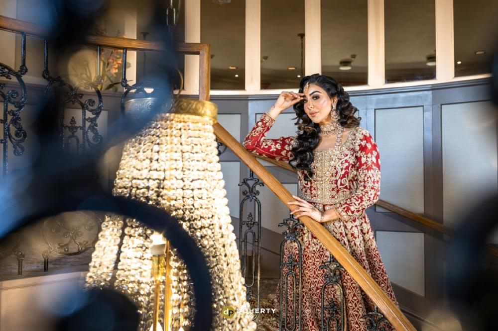 asian bride on the staircase