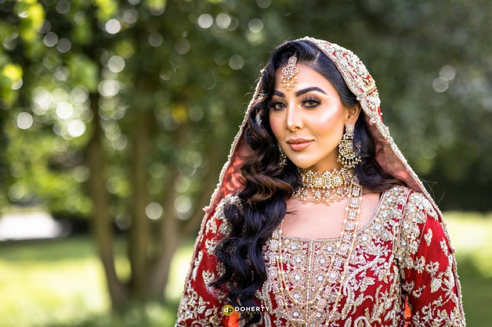 Portrait of asian bride on wedding day