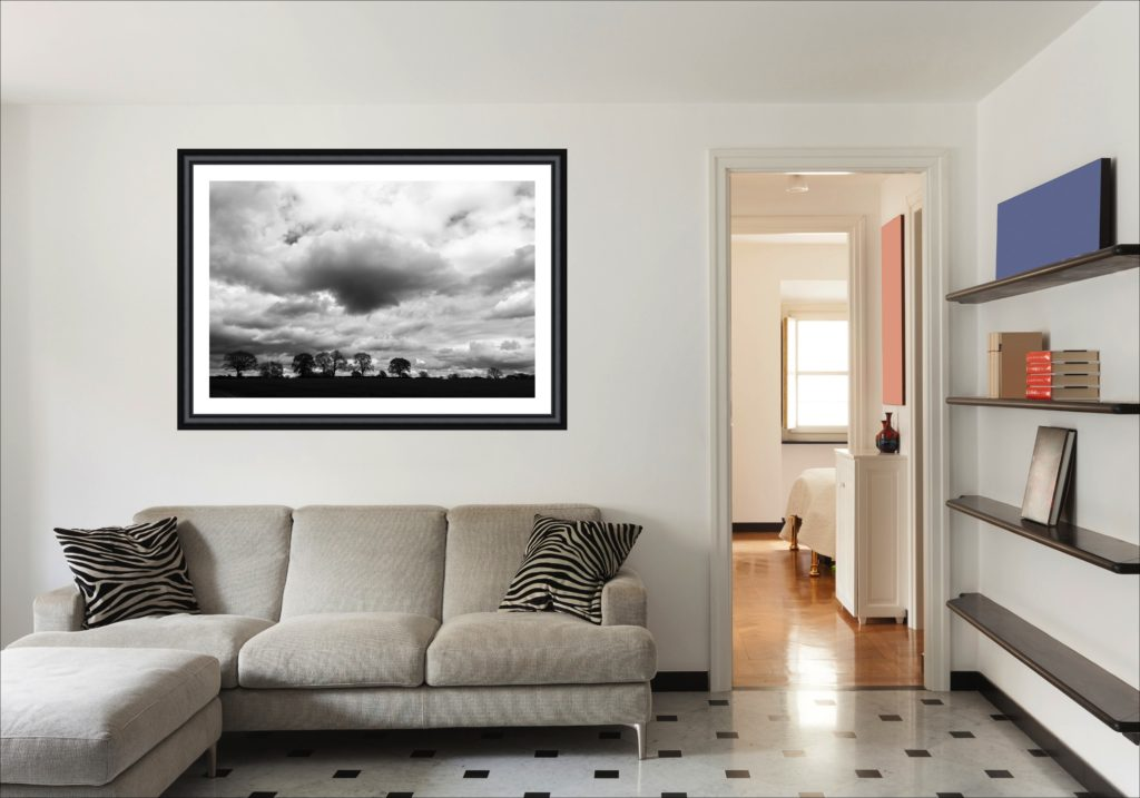 Wall art landscape framed photo in living room