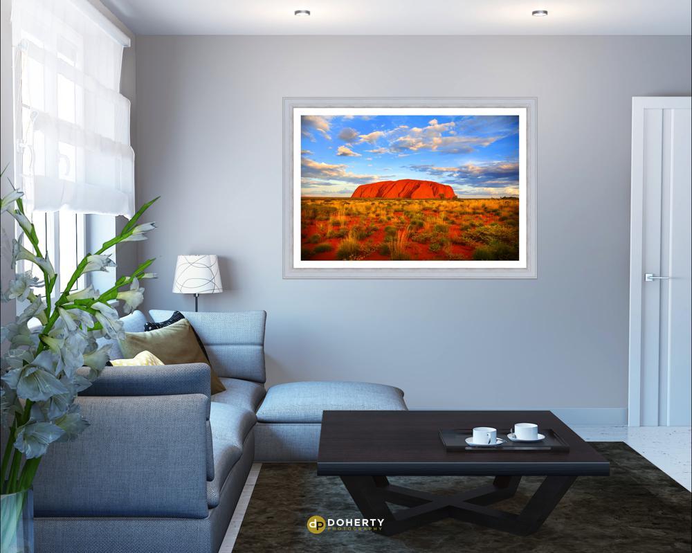 Ayers Rock landscape framed photo in living room