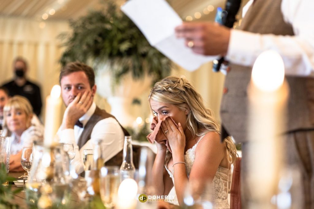 Bride in tears during speeches at wedding at Crockwell farm
