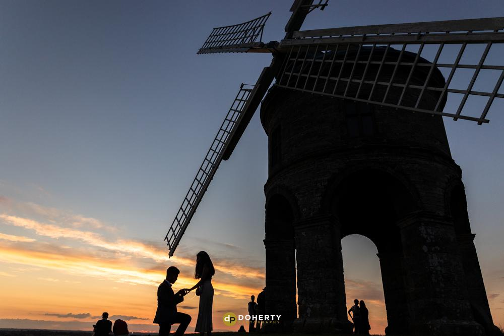 Engagement Portraits - Wedding Proposal - Chesterton Windmill - Chesterton Windmill at Sunset