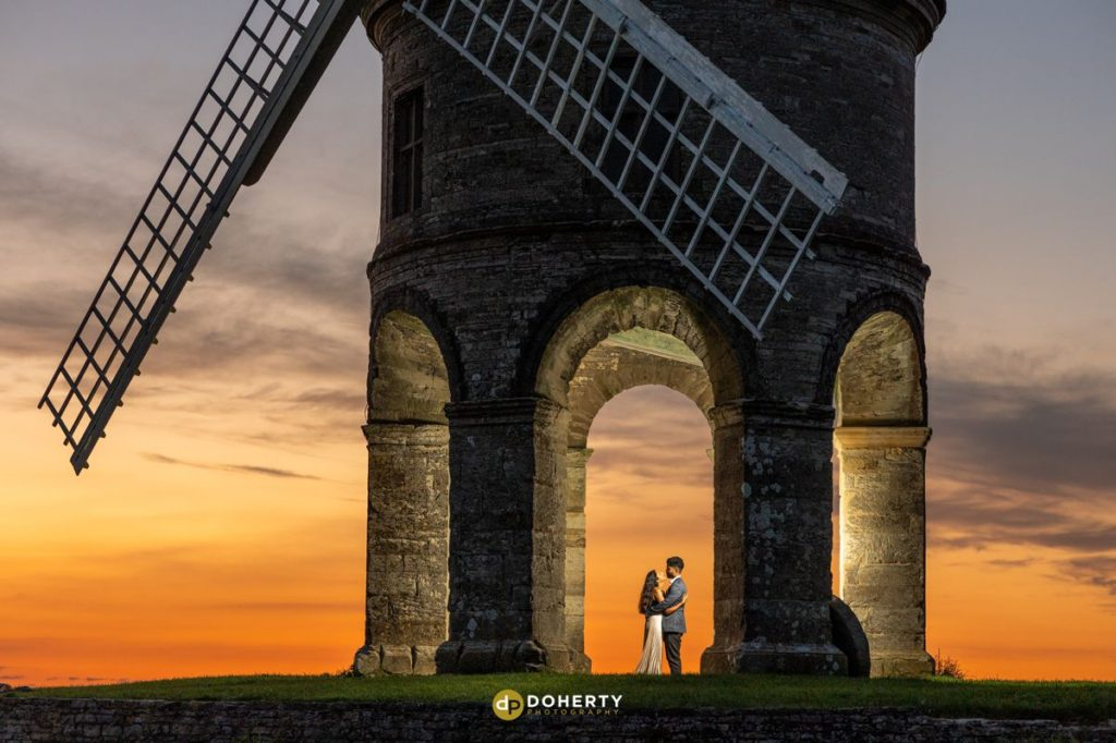 Bride and Groom at Chesterton Windmill at Sunset