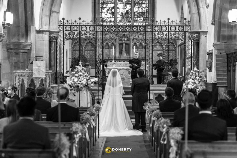 Wedding ceremony at St John the Baptist at Hagley Hall