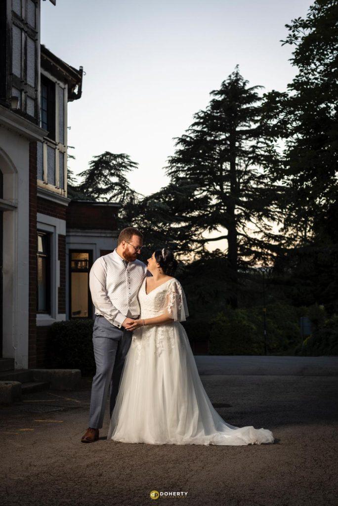Night shots of bride and groom at Laura Ashley Iliffe Hotel