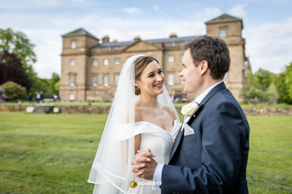 Hagley Hall with bride and groom- Wedding Photographer - West Midlands