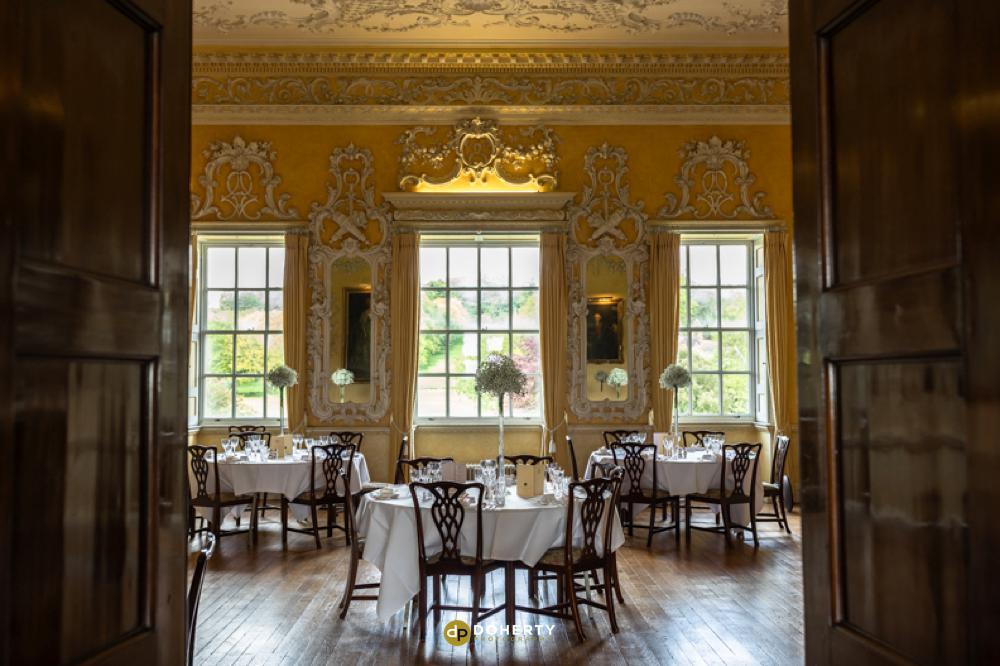 wedding breakfast room at Hagley Hall