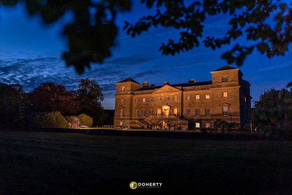 Hagley Hall venue at night time